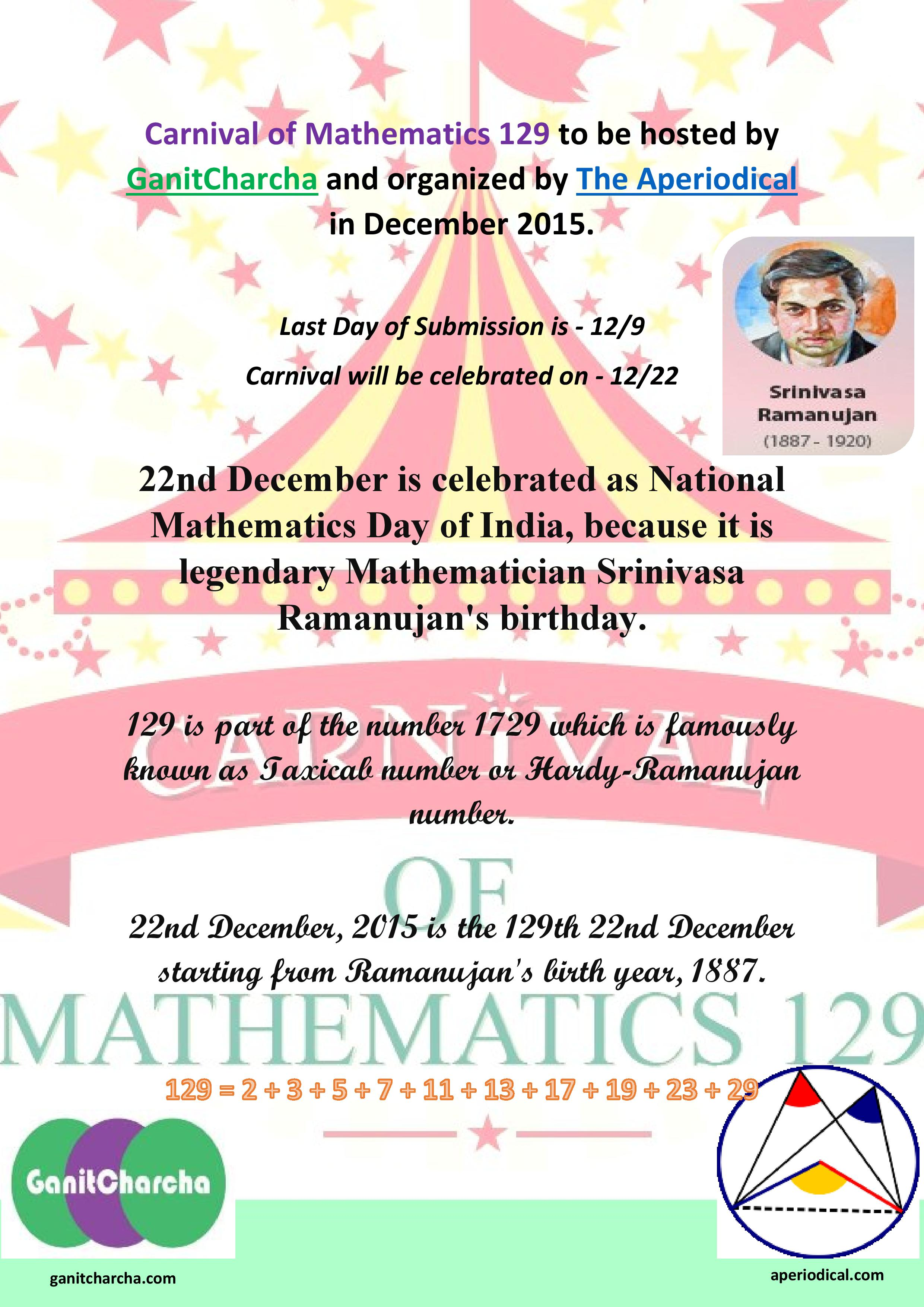 Carnival of Mathematics # 129 on 22nd December 2015