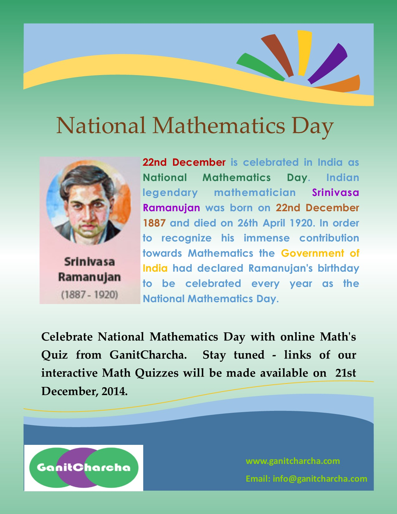 National Mathematics Day of India - 22nd December