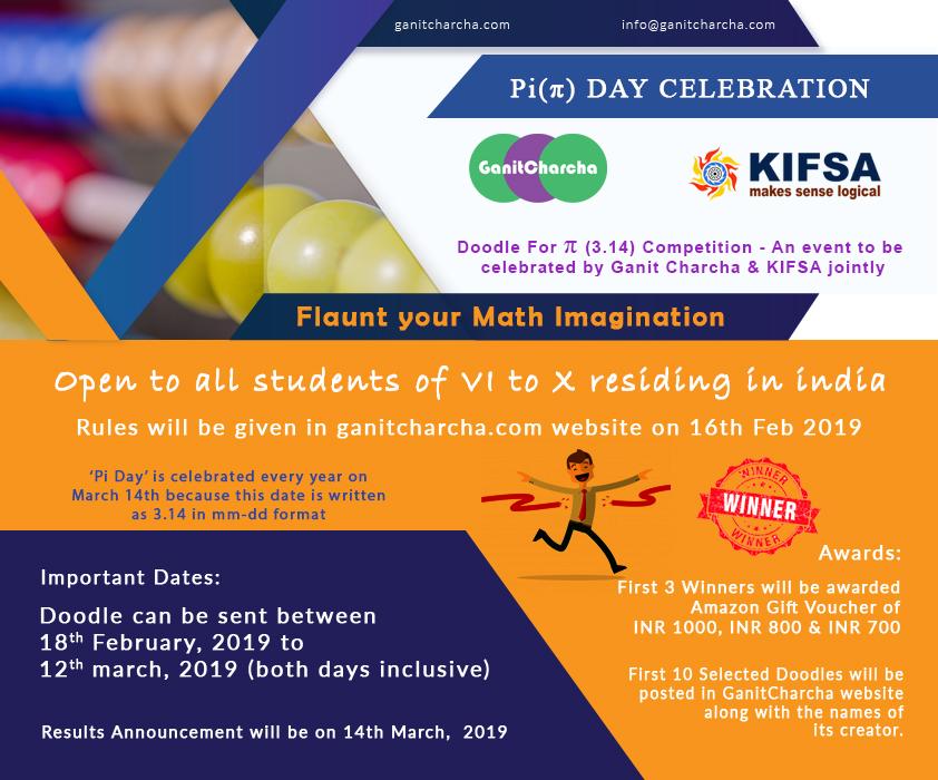Pi Day 2019 Celebration : 'Doodle For Pi' Competition for Students of Class VI to X Residing in India